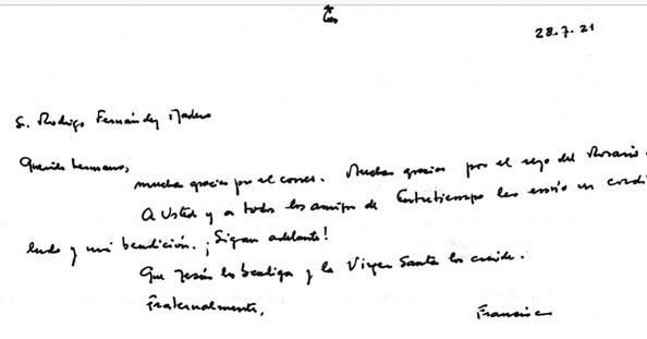 Carta manuscrita del Papa